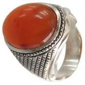 انگشتر نقره عقیق یمن درشت پرتقالی خوش رنگ مردانه