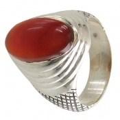 انگشتر نقره عقیق یمن درشت قرمز خوش رنگ مردانه