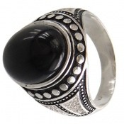 انگشتر نقره عقیق سیاه طرح هومن مردانه