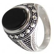 انگشتر نقره عقیق سیاه طرح نامی مردانه