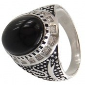 انگشتر نقره عقیق سیاه طرح ستار مردانه