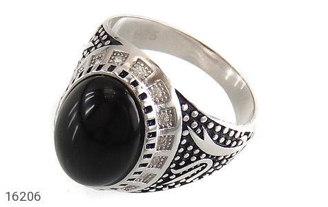 عکس انگشتر عقیق سیاه طرح ستار مردانه - شماره 1