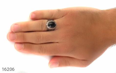 تصویر انگشتر عقیق سیاه طرح ستار مردانه - شماره 7