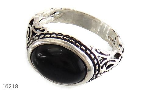 انگشتر نقره عقیق سیاه صفوی طرح بردیا مردانه - 16218