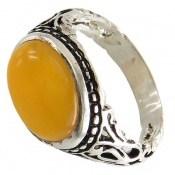 انگشتر نقره عقیق زرد شرف الشمس صفوی طرح بردیا مردانه