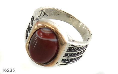 انگشتر نقره عقیق عقیق قرمز طرح آجار مردانه - 16235