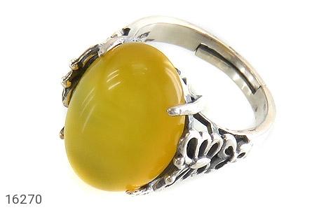 انگشتر نقره عقیق شرف الشمس زرد طرح غنچه زنانه - 16270