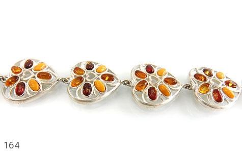 دستبند نقره کهربا بولونی لهستان درجه یک درشت طرح قلب زنانه - 164