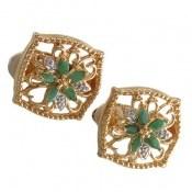 گوشواره نقره الماس و زمرد مانی ایتالیایی زنانه