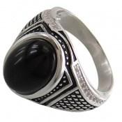 انگشتر نقره عقیق سیاه طرح شایان مردانه