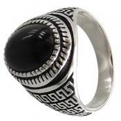 انگشتر نقره عقیق سیاه طرح ورساچه مردانه