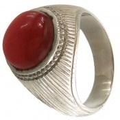 انگشتر نقره عقیق یمن قرمز خوش رنگ درشت مردانه