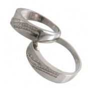 حلقه ازدواج نقره طرح موج