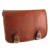 کیف چرم طبیعی بند دار قهوه ای