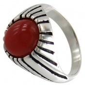 انگشتر عقیق قرمز طرح سنتی مردانه