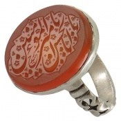انگشتر نقره عقیق یمنی یا امیرالمومنین یا اباالحسین مردانه