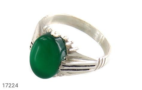 عکس انگشتر نقره عقیق سبز طرح ارشیا مردانه