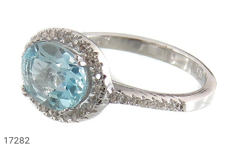 عکس انگشتر نقره توپاز آبی طرح محبوب زنانه
