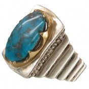 انگشتر نقره فیروزه نیشابوری شاهانه و کم نظیر مردانه