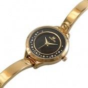 ساعت سواروسکی Swarovski طلائی مجلسی صفحه مشکی زنانه