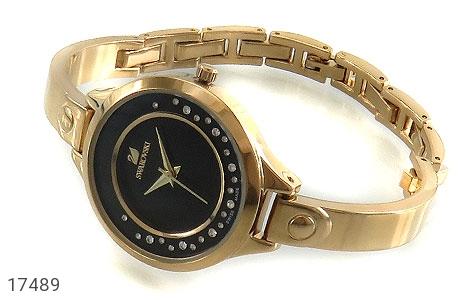 عکس ساعت سواروسکی Swarovski طلائی مجلسی صفحه مشکی زنانه