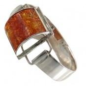 دستبند کهربا لهستان بولونی تک نگین درشت زنانه