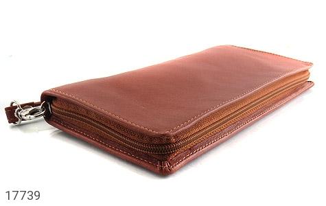عکس کیف چرم طبیعی دسته چک طرح زیپ دار - شماره 4