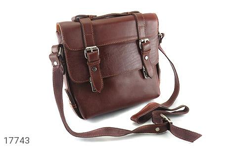 عکس کیف چرم طبیعی قهوه ای طرح نیمه دیپلمات