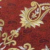 ترمه رومیزی سایز بزرگ یزد بافت ابریشم و نخ گلدوزی طرح اسلیمی
