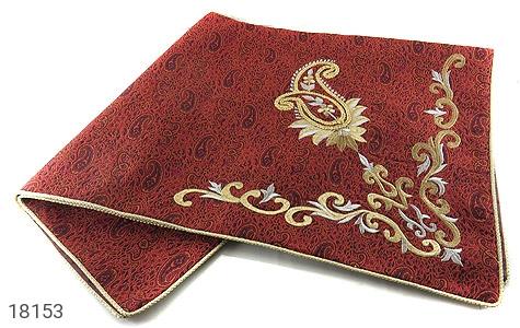 عکس ترمه رومیزی سایز بزرگ یزد بافت ابریشم و نخ گلدوزی طرح اسلیمی