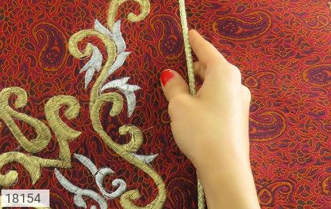 عکس ترمه سجاده جانماز یزد بافت ابریشم و نخ گلدوزی طرح رحمت - شماره 5