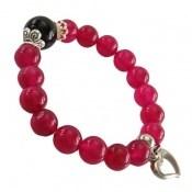 دستبند جید صورتی جذاب آویز قلب زنانه