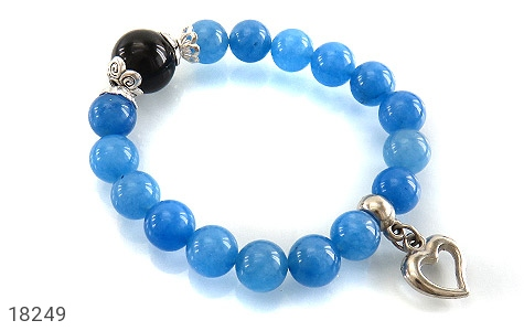 عکس دستبند جید آبی آویز قلب زنانه