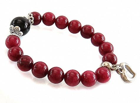 دستبند جید خوش رنگ با آویز قلب زنانه - 18250