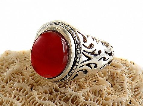 انگشتر نقره عقیق یمن ارزشمند طرح شبکه مردانه دست ساز - 18257