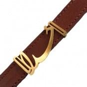 دستبند چرم طبیعی قهوه ای طرح خدا
