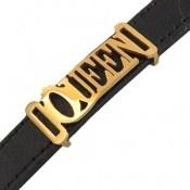 دستبند چرم طبیعی مشکی طرح QUEEN زنانه