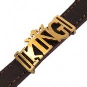 دستبند چرم طبیعی زرشکی تیره طرح KING
