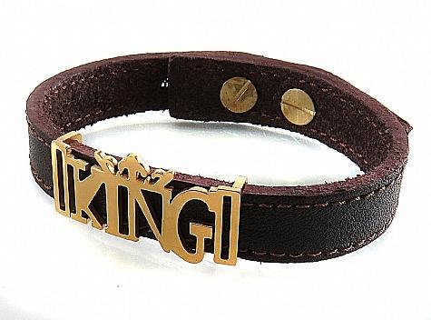 دستبند چرم طبیعی زرشکی تیره طرح KING - 18298
