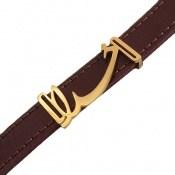 دستبند چرم طبیعی زرشکی طرح خدا