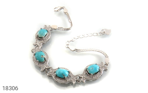 دستبند نقره فیروزه نیشابوری طرح ملکه زنانه - 18306