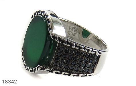 انگشتر نقره عقیق سبز طرح شهنام مردانه - 18342