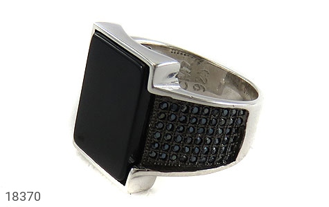 انگشتر نقره عقیق سیاه درشت طرح کلاسیک مردانه - 18370