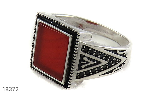 انگشتر نقره عقیق قرمز طرح کلاسیک مردانه - 18372