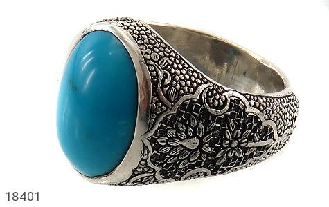 انگشتر نقره فیروزه مصری فاخر سلطنتی مردانه دست ساز - 18401