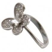انگشتر نقره درخشان طرح پروانه زنانه