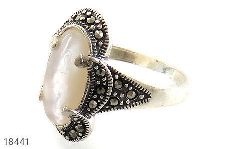 انگشتر نقره صدف طرح خاتون زنانه - 18441