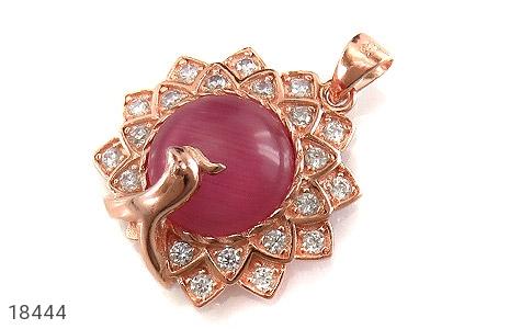 مدال نقره چشم گربه طرح طاووس - 18444