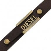 دستبند چرم طبیعی قهوه ای تیره طرح دیزل مردانه