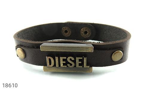 عکس دستبند چرم طبیعی قهوه ای تیره طرح دیزل مردانه - شماره 1